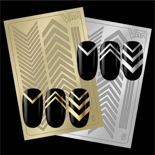 Folien Nailart Aufkleber #5 Gold / Silber